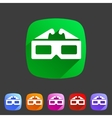 three-dimencional glasses anaglyph movie icon flat vector image