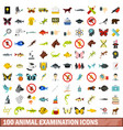 100 animal examination icons set flat style vector image
