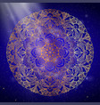 mandala gold round ornament pattern on blue vector image