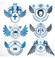 classy heraldic coat of arms collection of vector image