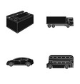 battery and transport black icons in set vector image