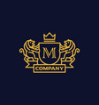 coat of arms letter m company vector image