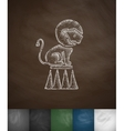 lion on the trapeze icon Hand drawn vector image