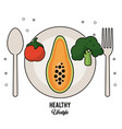 white background of healthy lifestyle with cutlery vector image