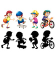 Kids doing different sport set with silhouette vector image