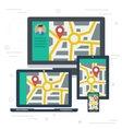 Monitoring on varios devices vector image