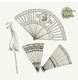 Collection womens old fans vector image