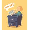 Cute alarm clock shouts Wake up vector image