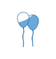 cartoon two balloons party celebration decoration vector image