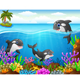 cartoon whale under the sea vector image