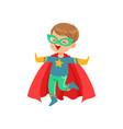 comic little kid in colorful superhero costume vector image