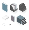 Files folders paper stack storage boxes and a vector image