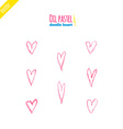 Hand drawn oil pastel hearts vector image