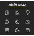 Kitchen electronics chalk icons set vector image