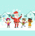 multiethnic children playing with santa claus vector image