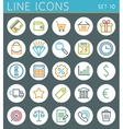Shopping line icons set Sale web design elements vector image