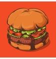 Hamburger Isolated on Orange Background vector image