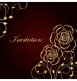 Gold flowers on dark red background vector image