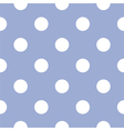 Seamless pattern white polka dots blue background vector image