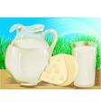 Cheese milk jug vector image