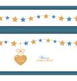 Christmas star border with heart vector image