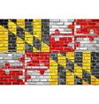Flag of Maryland on a brick wall vector image