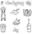 Thanksgiving with hand draw in doodle set vector image