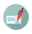 blank bank check with pen and signature icon vector image