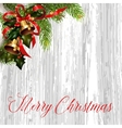 Christmas card with fir tree and jingle bells vector image