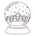 christmas crystal ball with winter forest vector image