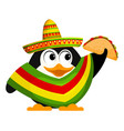 cute little penguin with a poncho sombrero and a vector image