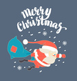 Cute Santa Claus Superman flying with Christmas vector image