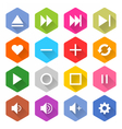 Flat media icon 16 set hexagon web button vector image
