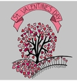 Hand drawn sketch heart tree vector image