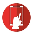 hand touch smartphone display digital shadow vector image