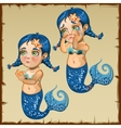 Kid mermaid and her emotions are joy and sadness vector image