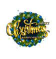 merry christmas lettering with golden vector image