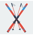 Pair of red skis and ski poles vector image