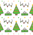 Seamless pattern background with christmas trees vector image