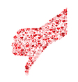 Template design thumb down symbol Valentines vector image