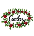 Lettering cowberry in colorful berry frame vector image