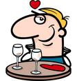 man waiting on valentines day cartoon vector image