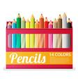 Flat pencils in box vector image