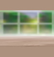 wood table top on blur natural green background vector image vector image