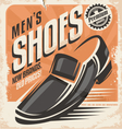 Men shoes retro poster design concept vector image vector image