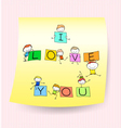 happy kids hand drawing character with love words vector image