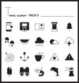 Travel Element Line Icon Set 5Beach and Sea vector image