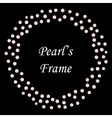 pearls seamless frame on black background vector image