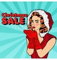 Pop Art Beautiful Woman in Santa Hat Blowing Snow vector image