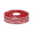 Red grunge disk logo vector image